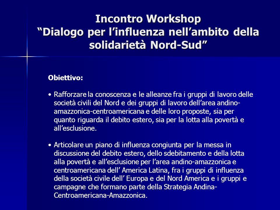 Incontro Workshop Dialogo per linfluenza nellambito della solidarietà Nord-Sud Obiettivo: Rafforzare la conoscenza e le alleanze fra i gruppi di lavoro delle società civili del Nord e dei gruppi di lavoro dellarea andino- amazzonica-centroamericana e delle loro proposte, sia per quanto riguarda il debito estero, sia per la lotta alla povertà e allesclusione.