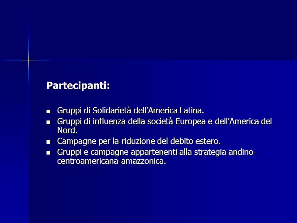 Partecipanti: Gruppi di Solidarietà dellAmerica Latina.