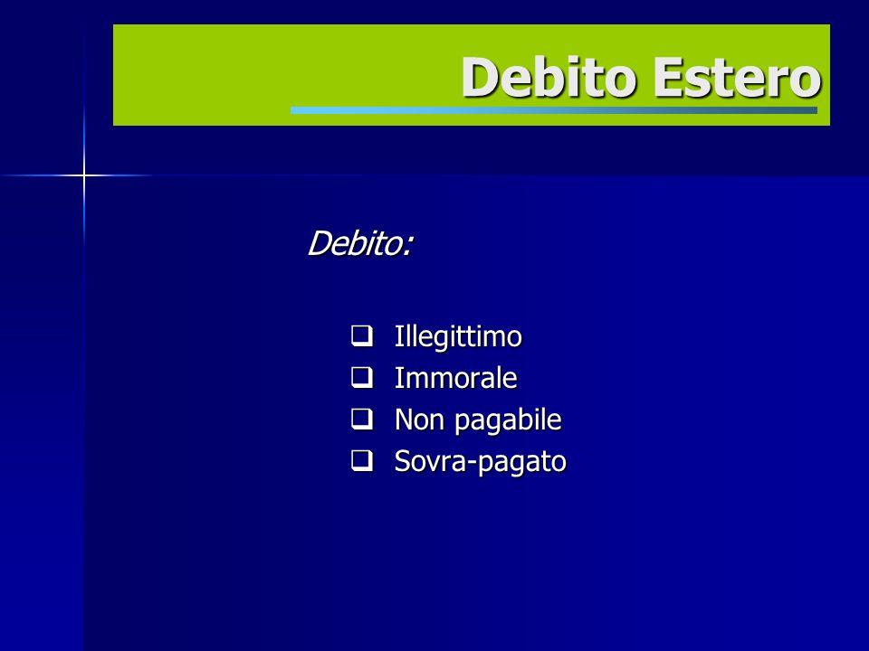 Debito: Illegittimo Illegittimo Immorale Immorale Non pagabile Non pagabile Sovra-pagato Sovra-pagato Debito Estero