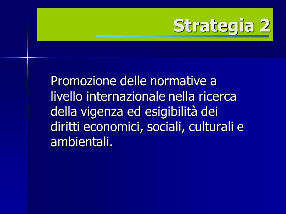 Promozione delle normative a livello internazionale nella ricerca della vigenza ed esigibilità dei diritti economici, sociali, culturali e ambientali.