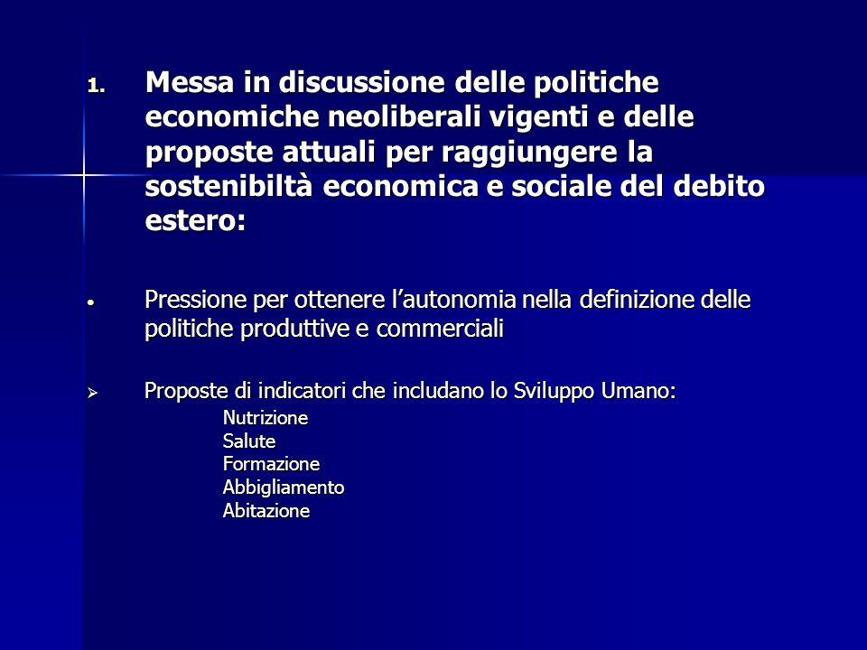1. Messa in discussione delle politiche economiche neoliberali vigenti e delle proposte attuali per raggiungere la sostenibiltà economica e sociale de