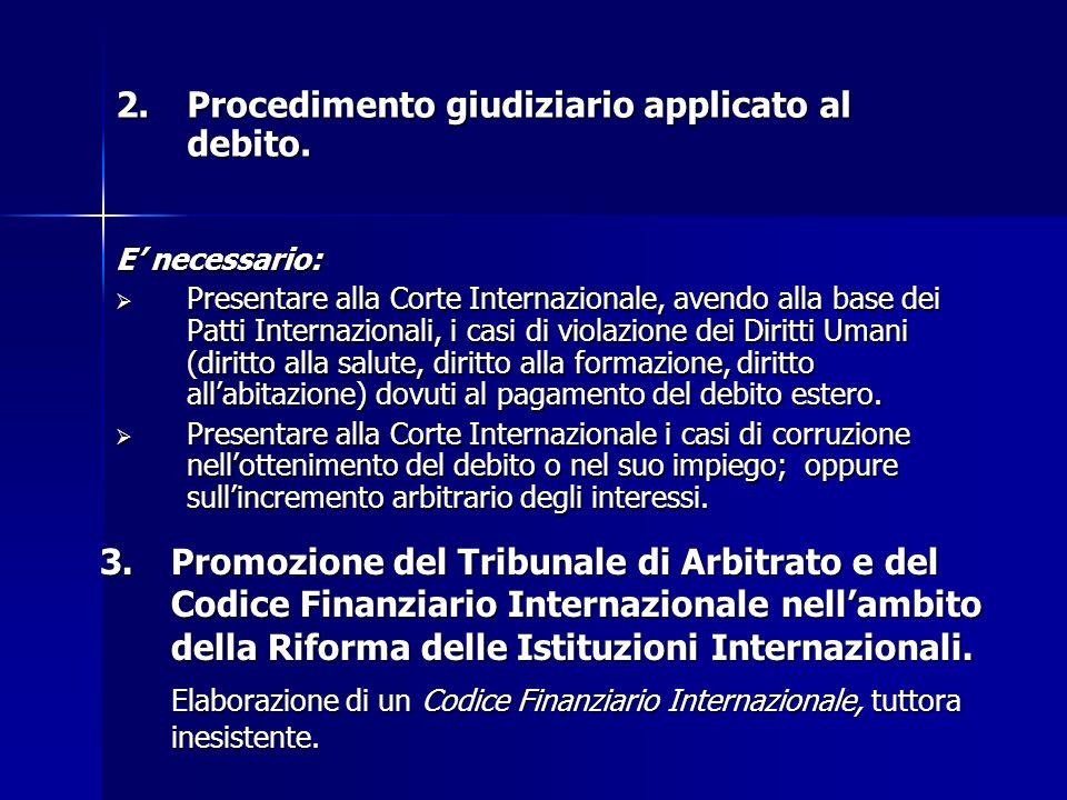 2. Procedimento giudiziario applicato al debito.