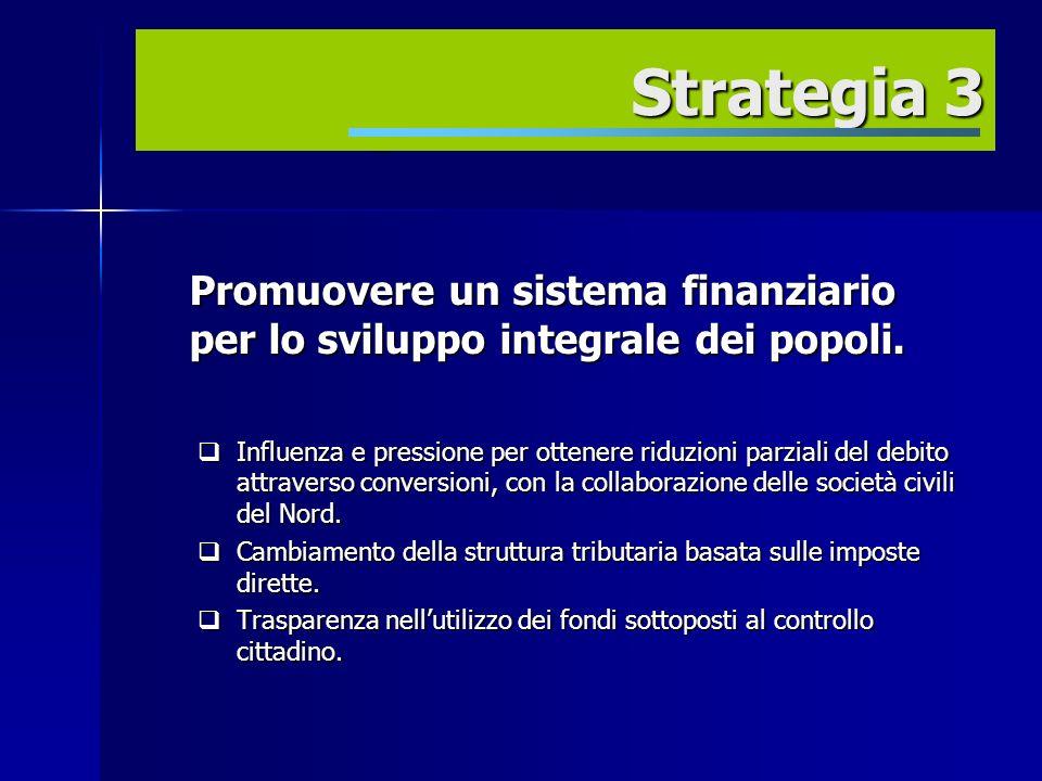 Estrategia 3 Promuovere un sistema finanziario per lo sviluppo integrale dei popoli.