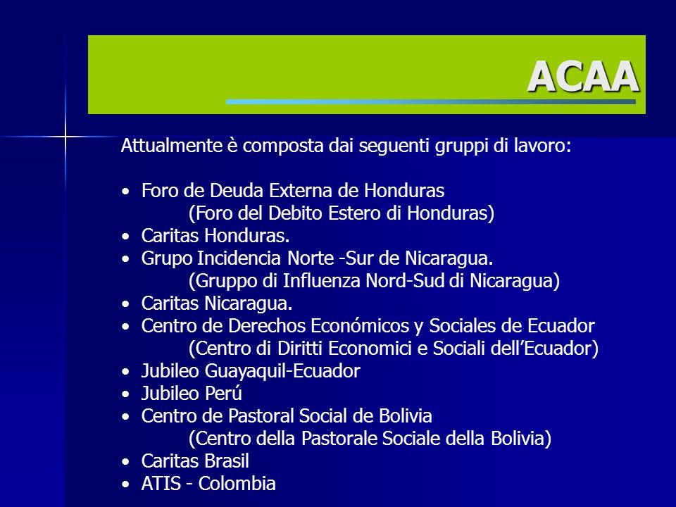 Attualmente è composta dai seguenti gruppi di lavoro: Foro de Deuda Externa de Honduras (Foro del Debito Estero di Honduras) Caritas Honduras.