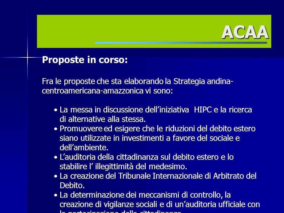 Proposte in corso: Fra le proposte che sta elaborando la Strategia andina- centroamericana-amazzonica vi sono: La messa in discussione delliniziativa HIPC e la ricerca di alternative alla stessa.