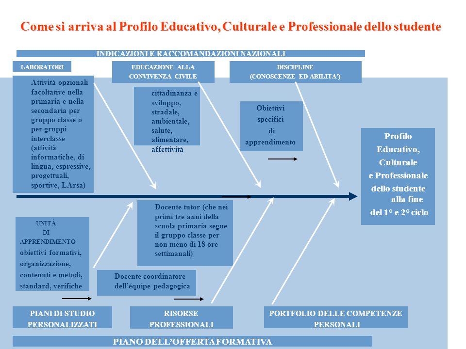 LABORATORI Profilo Educativo, Culturale e Professionale dello studente alla fine del 1° e 2° ciclo INDICAZIONI E RACCOMANDAZIONI NAZIONALI PIANO DELLO