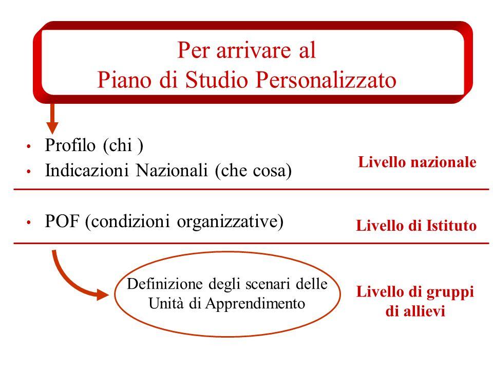 Per arrivare al Piano di Studio Personalizzato Profilo (chi ) Indicazioni Nazionali (che cosa) POF (condizioni organizzative) Definizione degli scenar