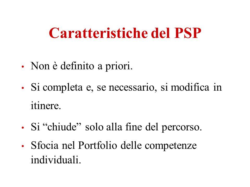 Caratteristiche del PSP Non è definito a priori. Si completa e, se necessario, si modifica in itinere. Si chiude solo alla fine del percorso. Sfocia n