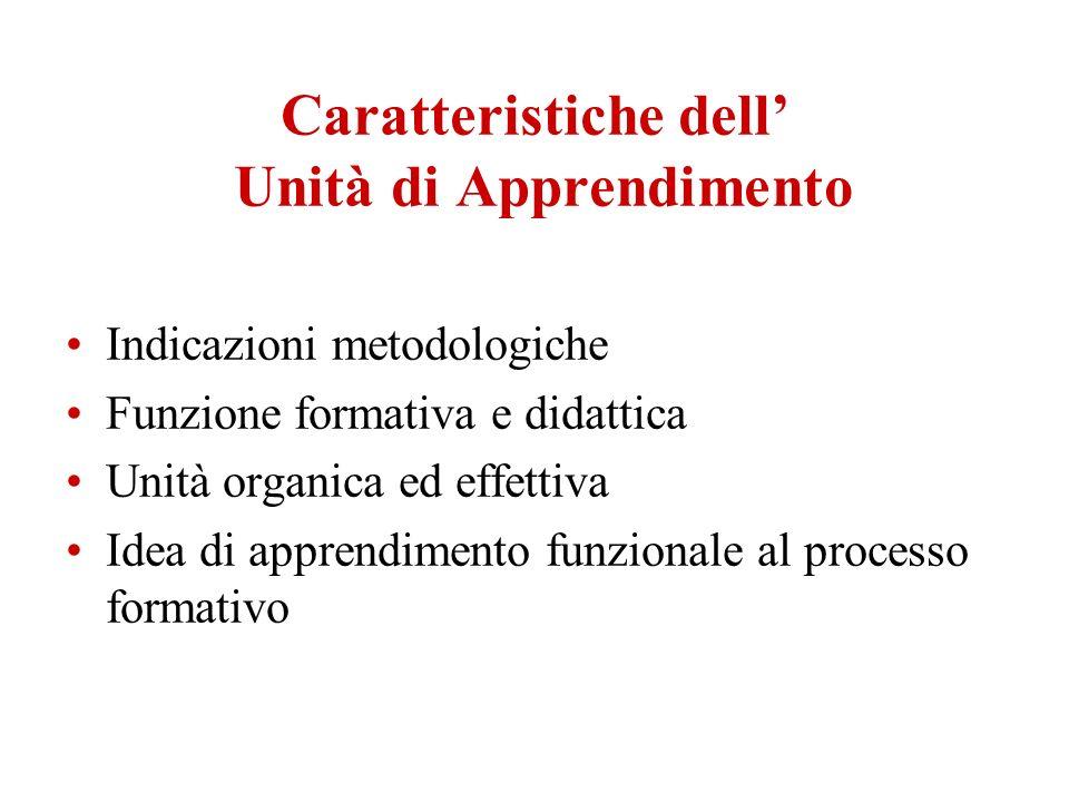 Caratteristiche dell Unità di Apprendimento Indicazioni metodologiche Funzione formativa e didattica Unità organica ed effettiva Idea di apprendimento