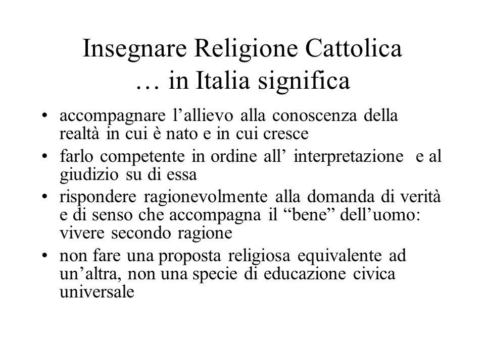 Insegnare Religione Cattolica … in Italia significa accompagnare lallievo alla conoscenza della realtà in cui è nato e in cui cresce farlo competente