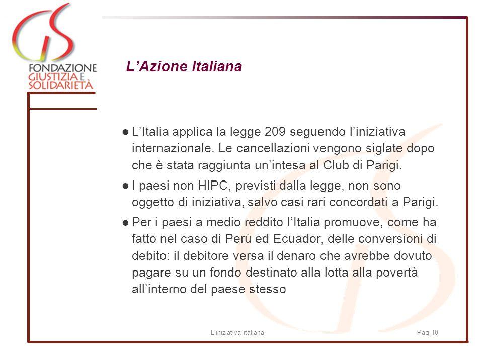 Liniziativa italianaPag.10 LAzione Italiana LItalia applica la legge 209 seguendo liniziativa internazionale.