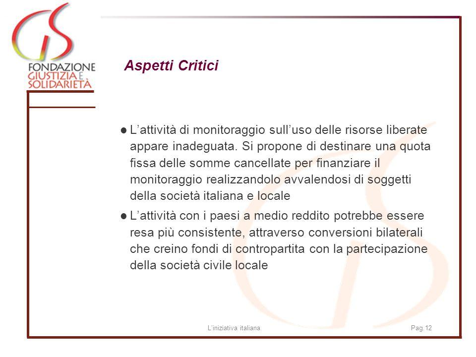 Liniziativa italianaPag.12 Aspetti Critici Lattività di monitoraggio sulluso delle risorse liberate appare inadeguata.