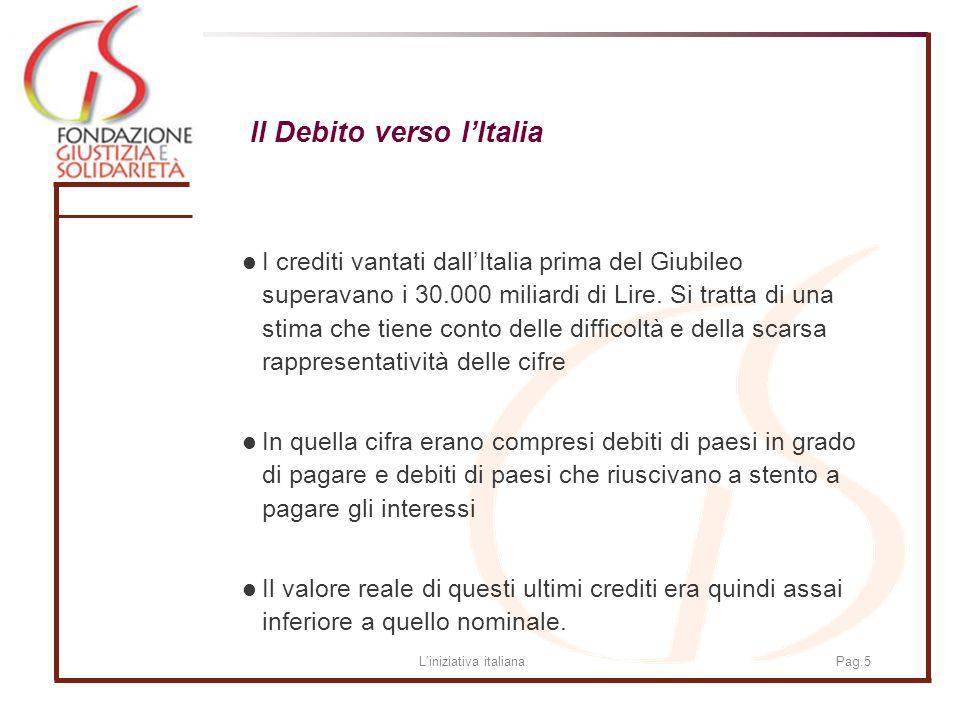 Liniziativa italianaPag.5 Il Debito verso lItalia I crediti vantati dallItalia prima del Giubileo superavano i 30.000 miliardi di Lire.
