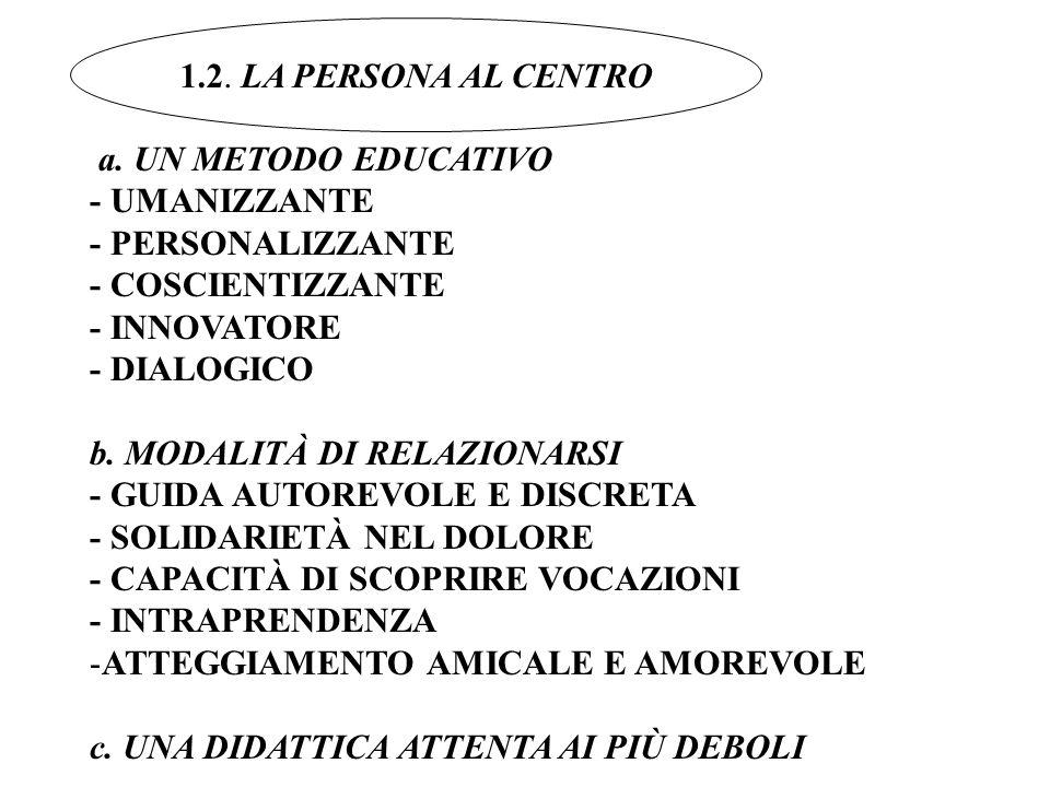a. UN METODO EDUCATIVO - UMANIZZANTE - PERSONALIZZANTE - COSCIENTIZZANTE - INNOVATORE - DIALOGICO b. MODALITÀ DI RELAZIONARSI - GUIDA AUTOREVOLE E DIS