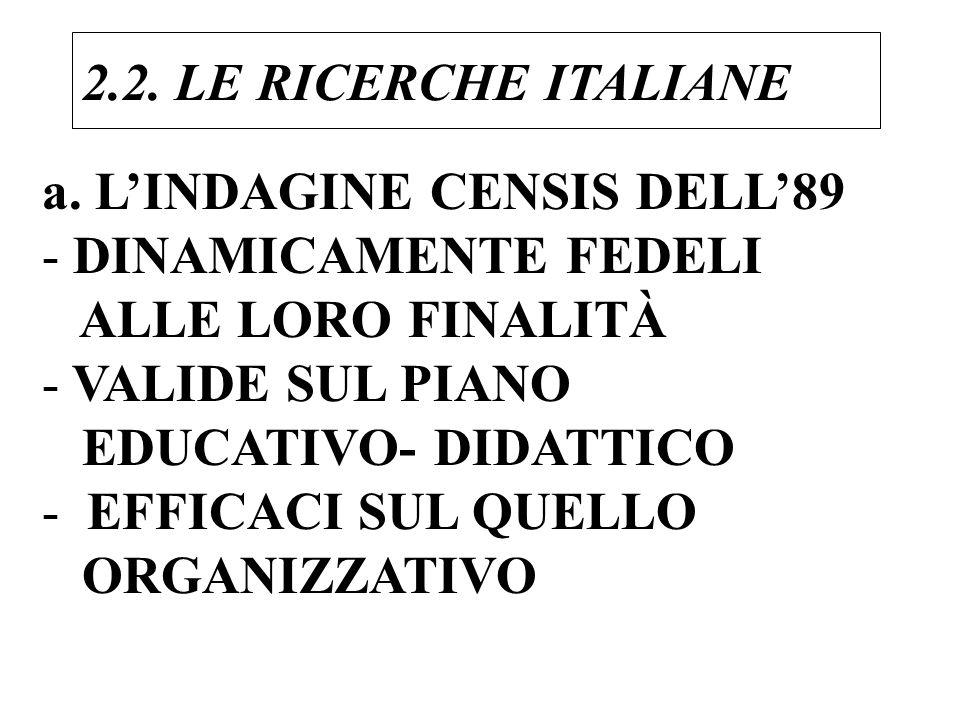 a. LINDAGINE CENSIS DELL89 - DINAMICAMENTE FEDELI ALLE LORO FINALITÀ - VALIDE SUL PIANO EDUCATIVO- DIDATTICO - EFFICACI SUL QUELLO ORGANIZZATIVO 2.2.