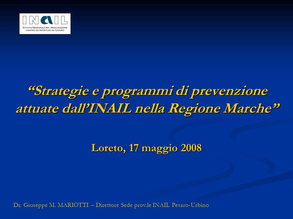 Strategie e programmi di prevenzione attuate dallINAIL nella Regione Marche Loreto, 17 maggio 2008 Dr. Giuseppe M. MARIOTTI – Direttore Sede prov.le I