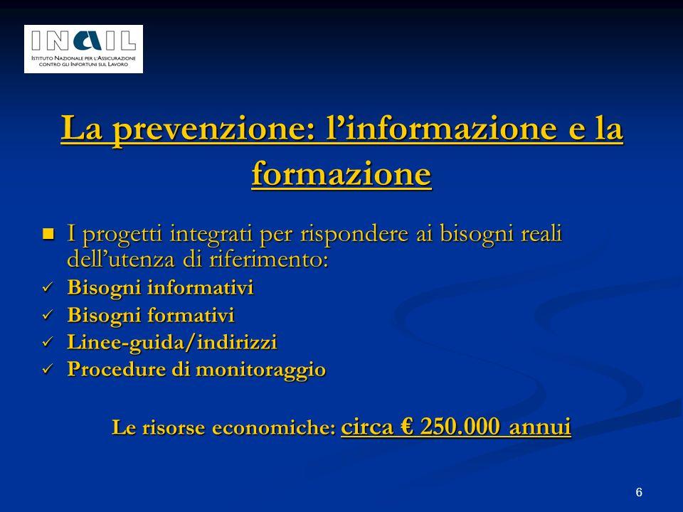 6 La prevenzione: linformazione e la formazione I progetti integrati per rispondere ai bisogni reali dellutenza di riferimento: I progetti integrati p