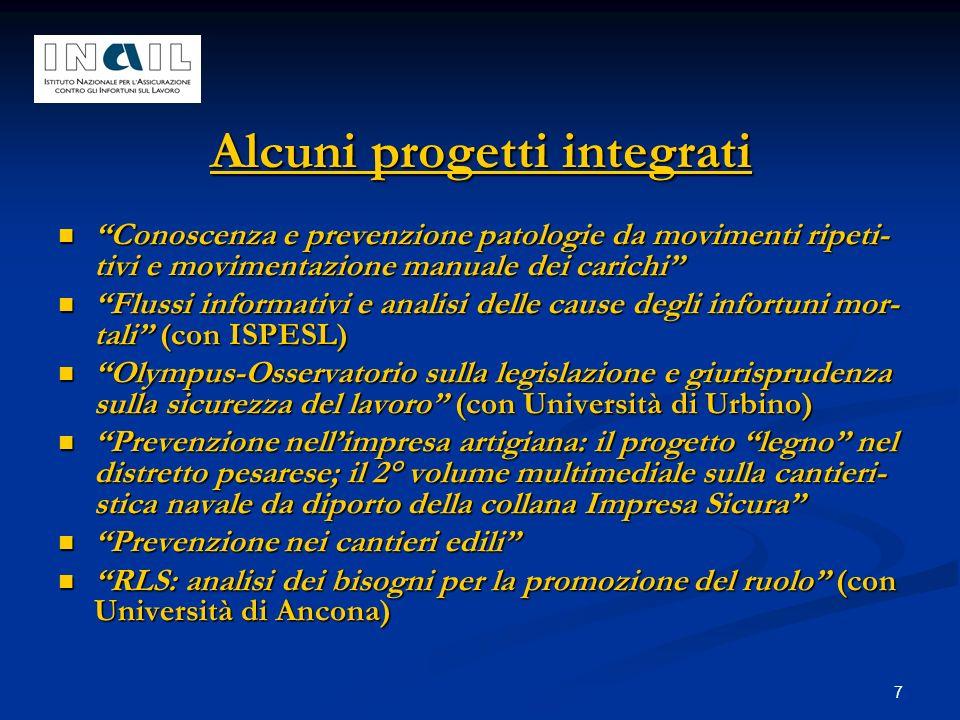 7 Alcuni progetti integrati Conoscenza e prevenzione patologie da movimenti ripeti- tivi e movimentazione manuale dei carichi Conoscenza e prevenzione