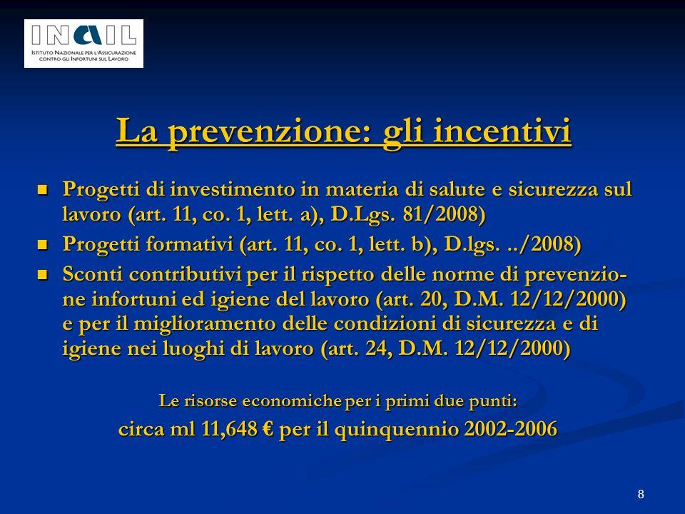 8 La prevenzione: gli incentivi Progetti di investimento in materia di salute e sicurezza sul lavoro (art. 11, co. 1, lett. a), D.Lgs. 81/2008) Proget