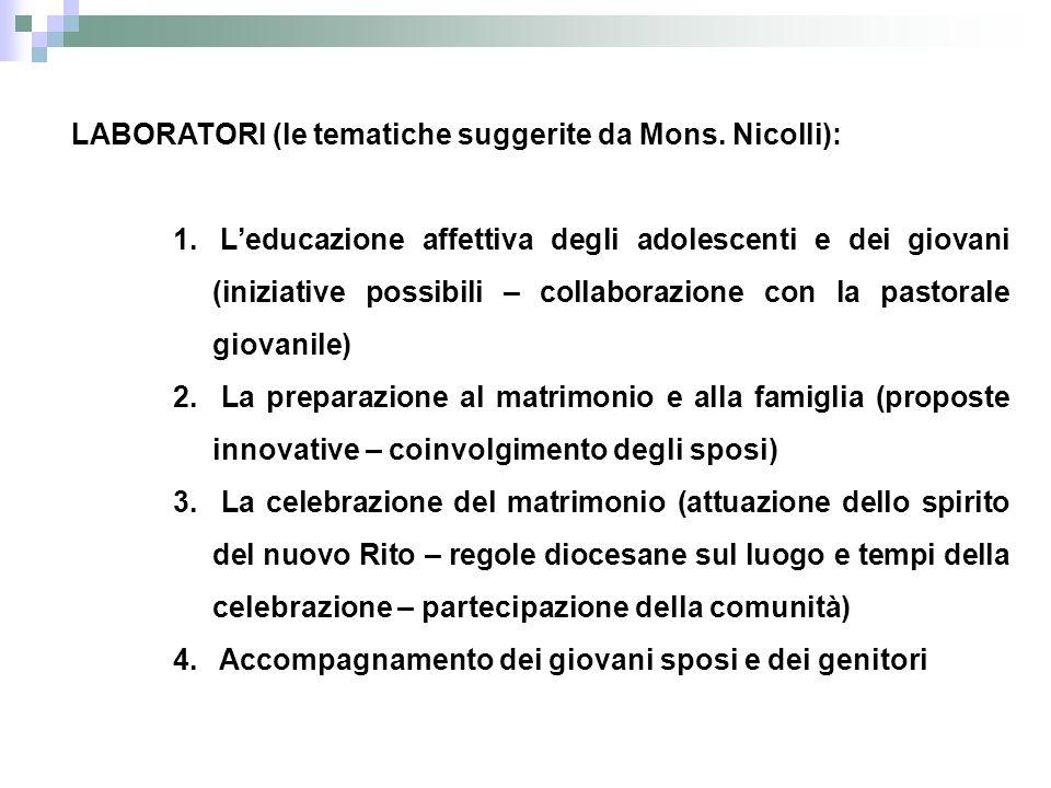 LABORATORI (le tematiche suggerite da Mons. Nicolli): 1.