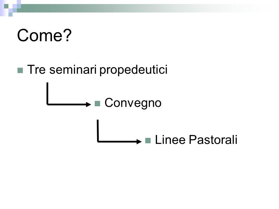 Come Tre seminari propedeutici Convegno Linee Pastorali