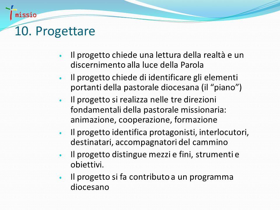 10. Progettare Il progetto chiede una lettura della realtà e un discernimento alla luce della Parola Il progetto chiede di identificare gli elementi p