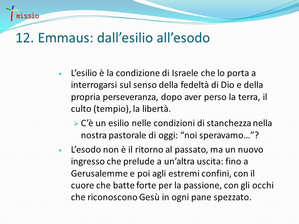12. Emmaus: dallesilio allesodo Lesilio è la condizione di Israele che lo porta a interrogarsi sul senso della fedeltà di Dio e della propria persever