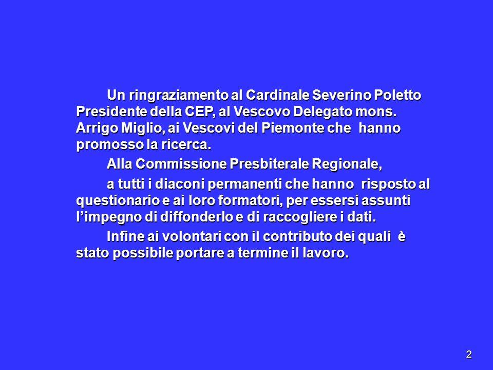 23 Considerazioni In Piemonte il diaconato permanente è in crescita del 10% in rapporto al campione nazionale pur essendo ancora una realtà, in alcune diocesi, giovane.