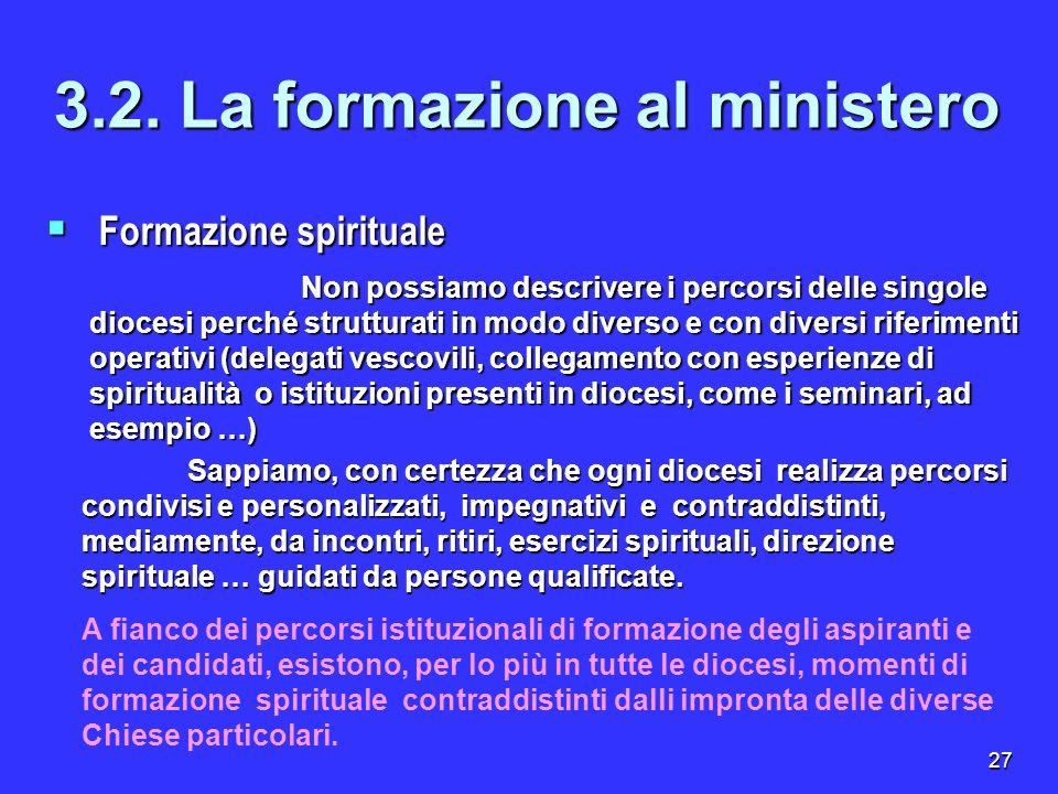 27 Formazione spirituale Formazione spirituale 3.2. La formazione al ministero Non possiamo descrivere i percorsi delle singole diocesi perché struttu