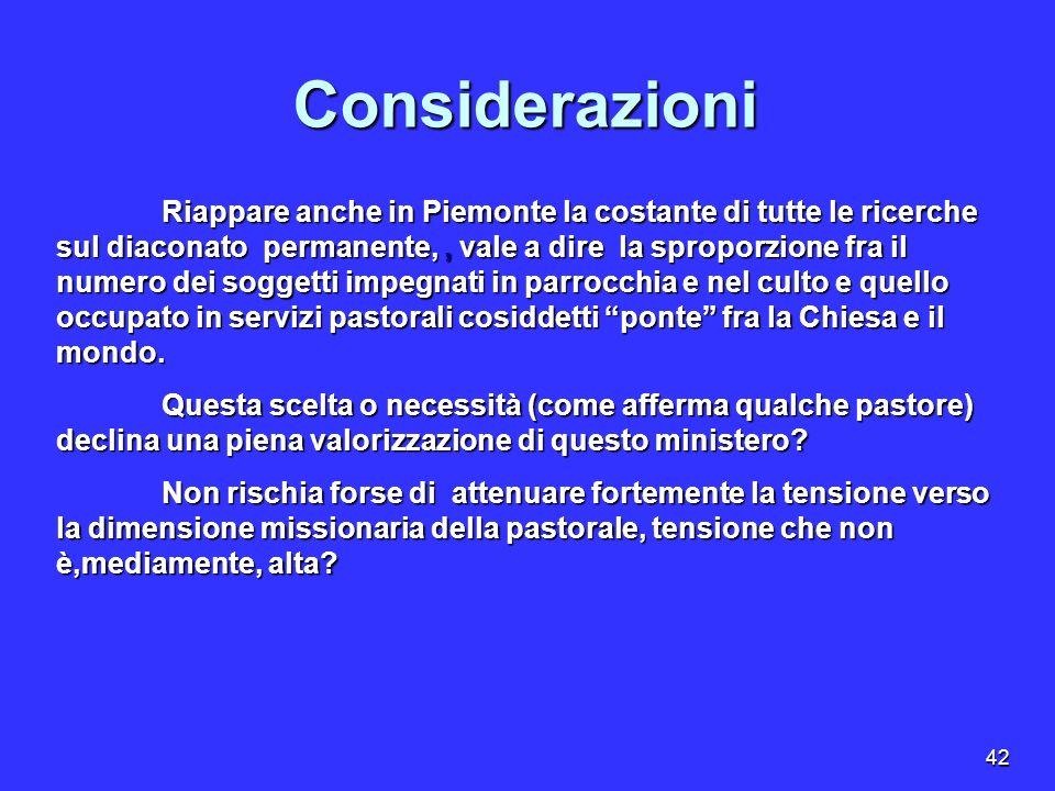 42 Considerazioni Riappare anche in Piemonte la costante di tutte le ricerche sul diaconato permanente,, vale a dire la sproporzione fra il numero dei