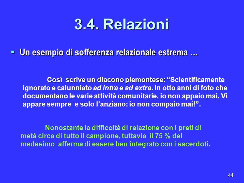 44 Un esempio di sofferenza relazionale estrema … Un esempio di sofferenza relazionale estrema … 3.4. Relazioni Così scrive un diacono piemontese: Cos