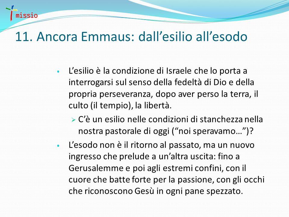 11. Ancora Emmaus: dallesilio allesodo Lesilio è la condizione di Israele che lo porta a interrogarsi sul senso della fedeltà di Dio e della propria p