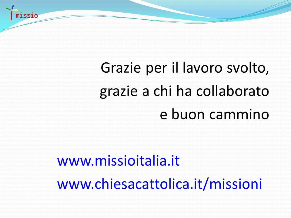 Grazie per il lavoro svolto, grazie a chi ha collaborato e buon cammino www.missioitalia.it www.chiesacattolica.it/missioni