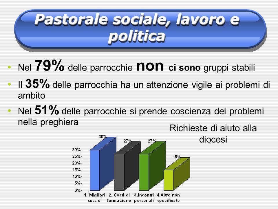 Nel 79% delle parrocchie non ci sono gruppi stabili Il 35% delle parrocchia ha un attenzione vigile ai problemi di ambito Nel 51% delle parrocchie si