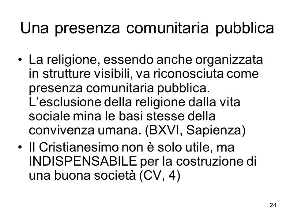24 Una presenza comunitaria pubblica La religione, essendo anche organizzata in strutture visibili, va riconosciuta come presenza comunitaria pubblica.
