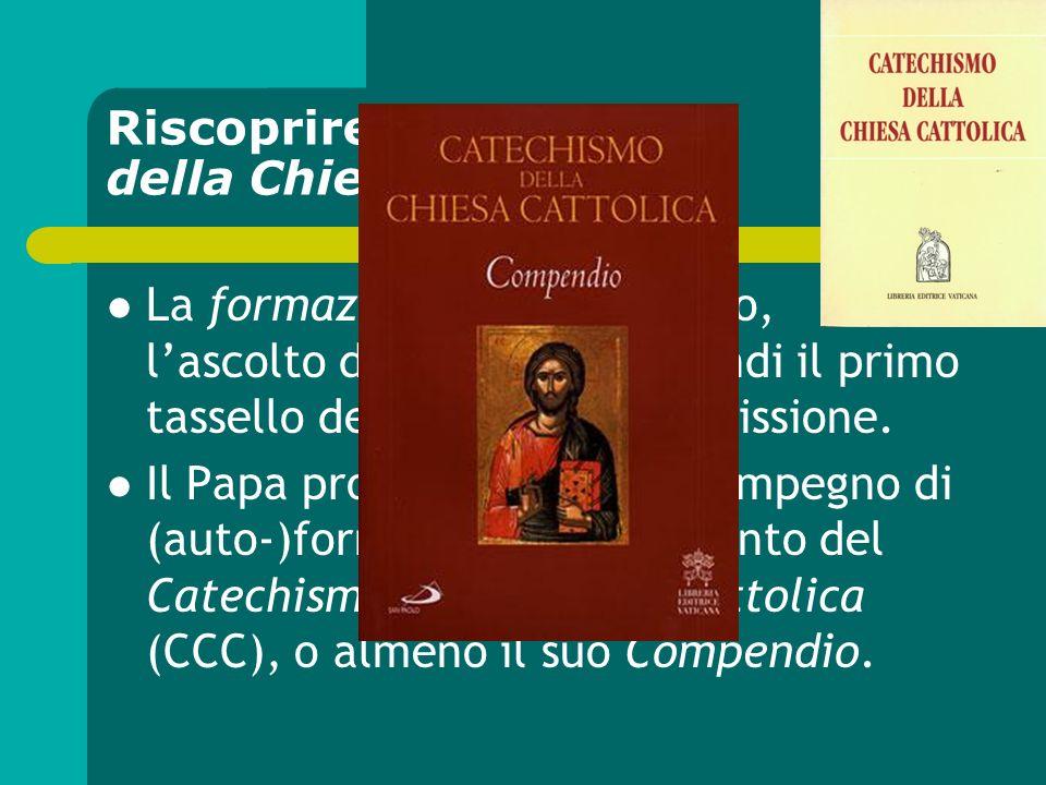 Riscoprire il Catechismo della Chiesa cattolica La formazione (il discepolato, lascolto del Vangelo) è quindi il primo tassello dellapertura alla miss