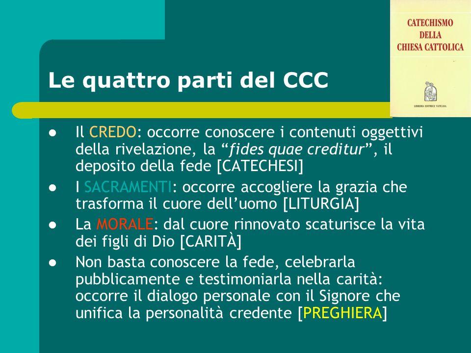 Le quattro parti del CCC Il CREDO: occorre conoscere i contenuti oggettivi della rivelazione, la fides quae creditur, il deposito della fede [CATECHES