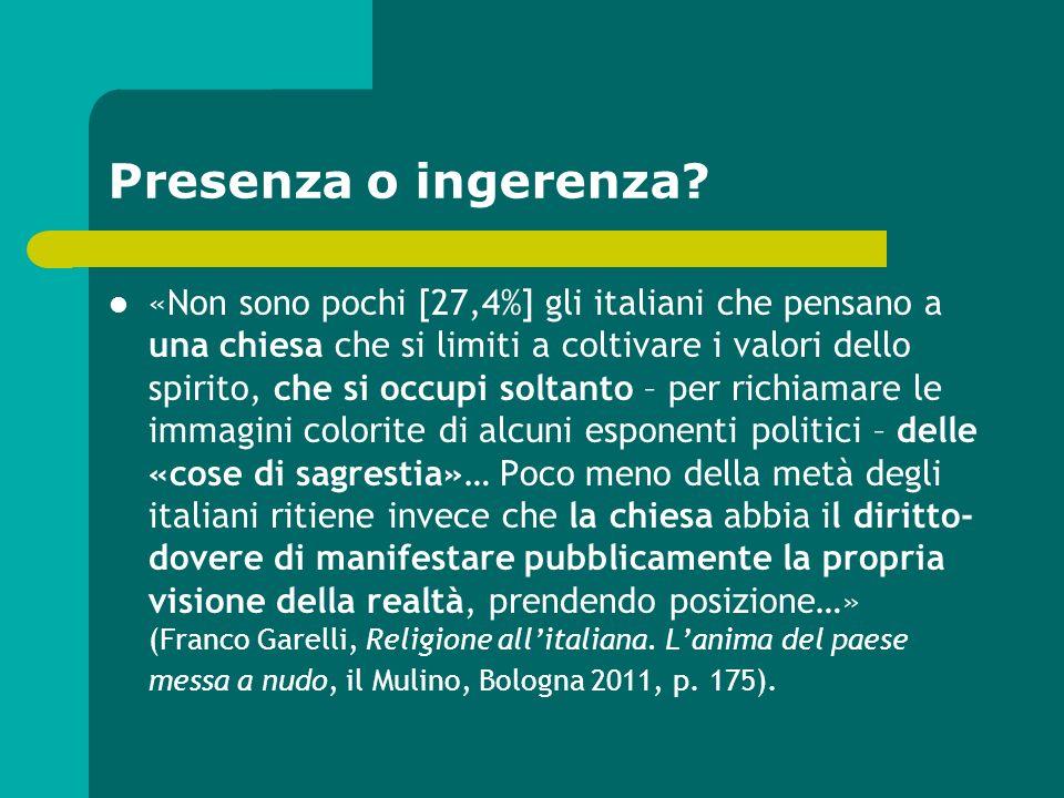 Presenza o ingerenza? «Non sono pochi [27,4%] gli italiani che pensano a una chiesa che si limiti a coltivare i valori dello spirito, che si occupi so