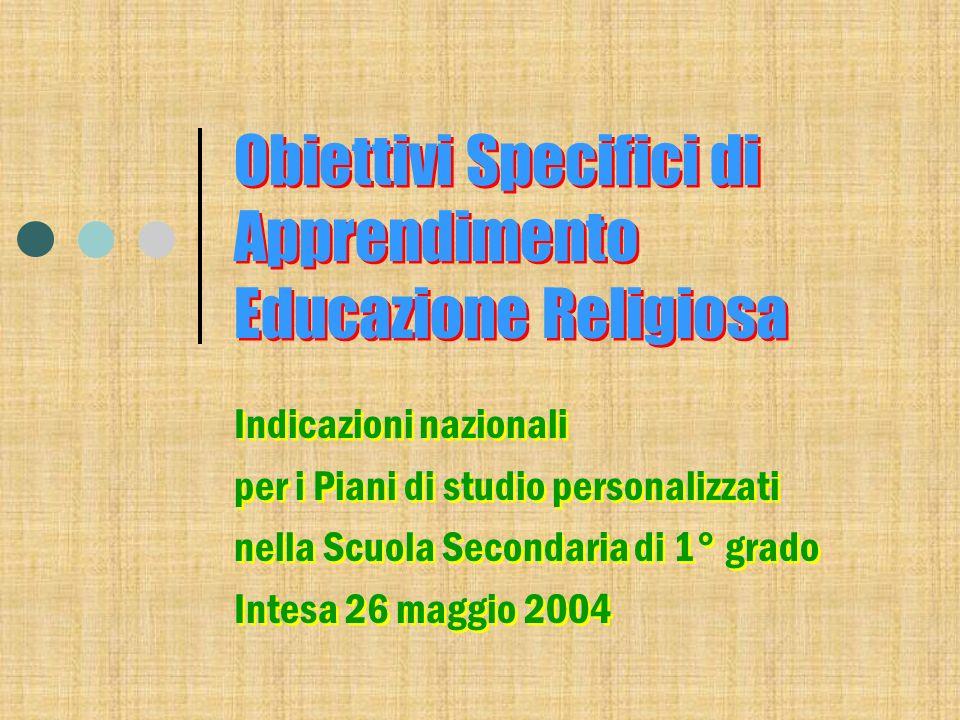 Larticolazione del 2003/04 La Scuola secondaria di Primo Grado Obiettivi generali del processo formativo Obiettivi Specifici di Apprendimento La Scuola secondaria di Primo Grado Obiettivi generali del processo formativo Obiettivi Specifici di Apprendimento