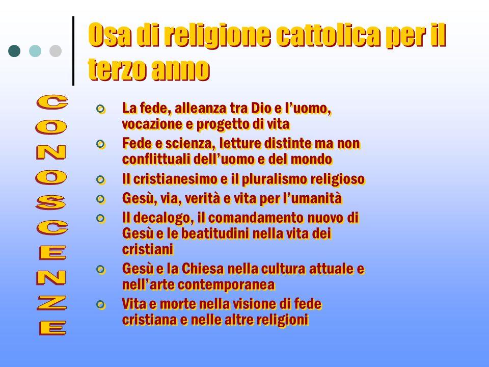 Osa di religione cattolica per il terzo anno La fede, alleanza tra Dio e luomo, vocazione e progetto di vita Fede e scienza, letture distinte ma non c