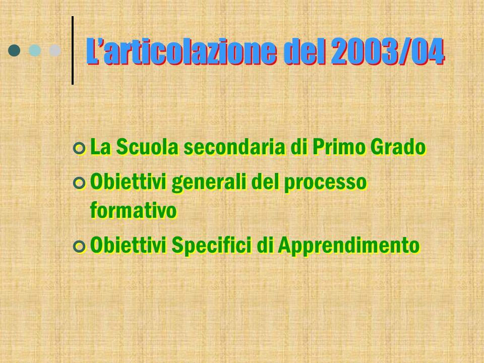 Larticolazione del 2003/04 La Scuola secondaria di Primo Grado Obiettivi generali del processo formativo Obiettivi Specifici di Apprendimento La Scuol