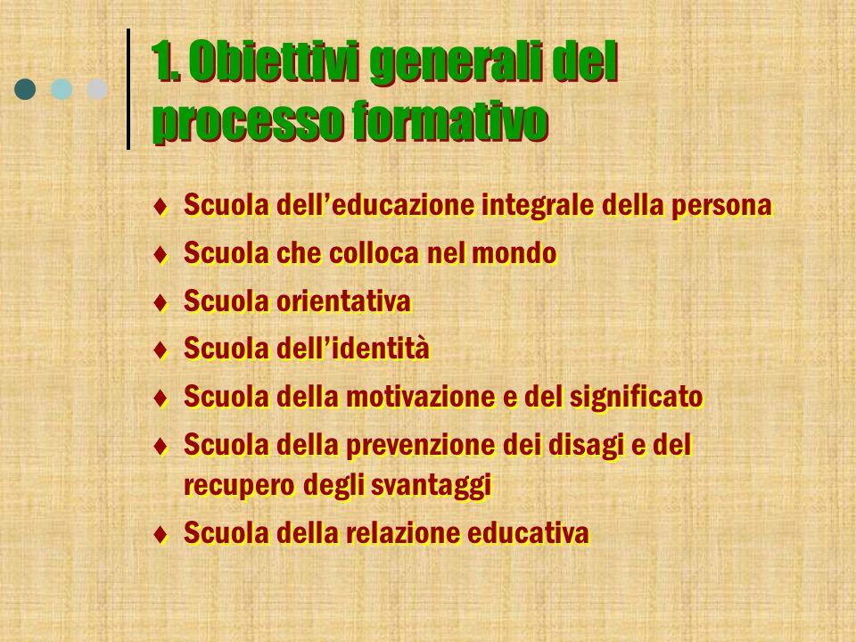 1. Obiettivi generali del processo formativo Scuola delleducazione integrale della persona Scuola che colloca nel mondo Scuola orientativa Scuola dell