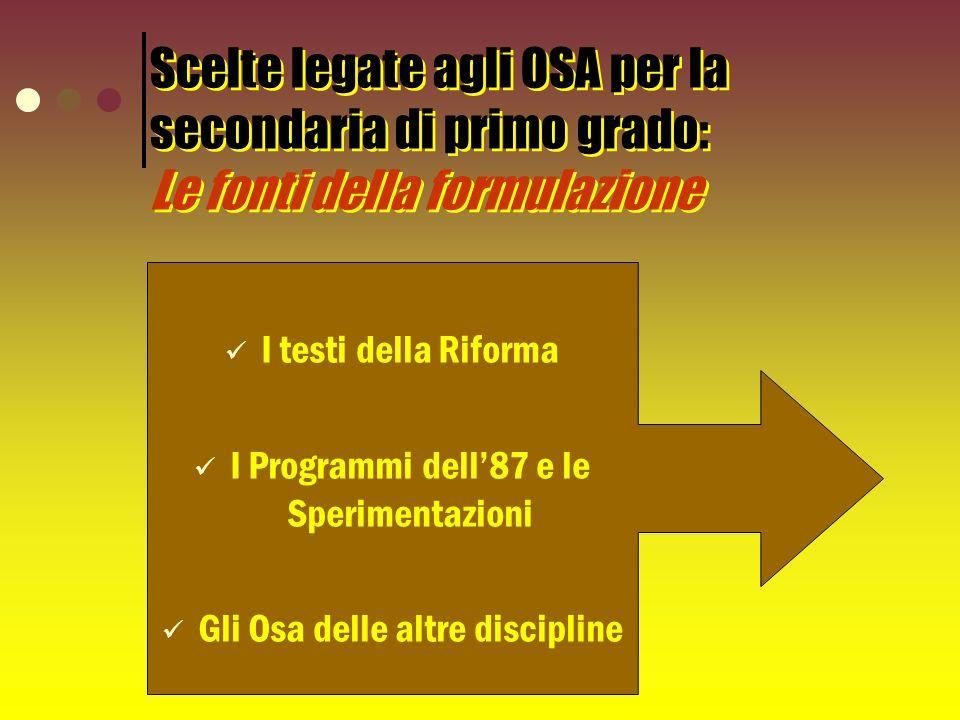 Scelte legate agli OSA per la secondaria di primo grado: Le fonti della formulazione I testi della Riforma I Programmi dell87 e le Sperimentazioni Gli