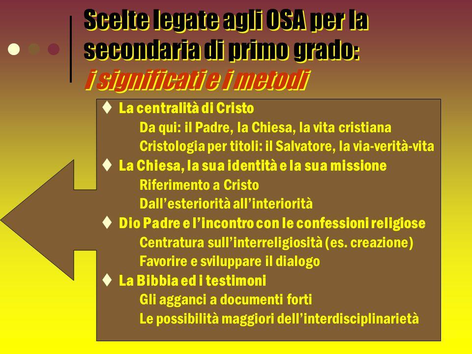 Scelte legate agli OSA per la secondaria di primo grado: i significati e i metodi La centralità di Cristo Da qui: il Padre, la Chiesa, la vita cristia