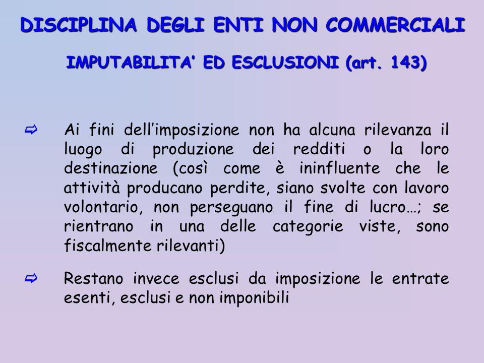 IMPUTABILITA ED ESCLUSIONI (art. 143) Ai fini dellimposizione non ha alcuna rilevanza il luogo di produzione dei redditi o la loro destinazione (così