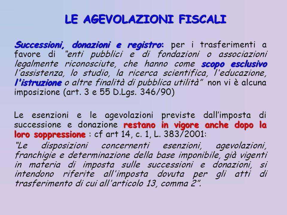 Successioni, donazioni e registro: scopo esclusivo l'istruzione Successioni, donazioni e registro: per i trasferimenti a favore di enti pubblici e di