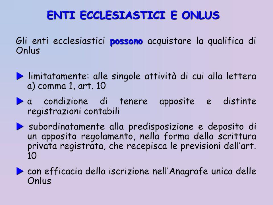 possono Gli enti ecclesiastici possono acquistare la qualifica di Onlus limitatamente: alle singole attività di cui alla lettera a) comma 1, art. 10 a