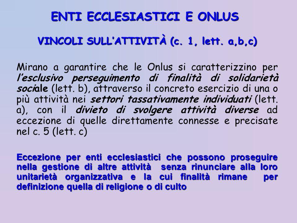 VINCOLI SULLATTIVITÀ(c. 1, lett. a,b,c) VINCOLI SULLATTIVITÀ (c. 1, lett. a,b,c) Mirano a garantire che le Onlus si caratterizzino per lesclusivo pers