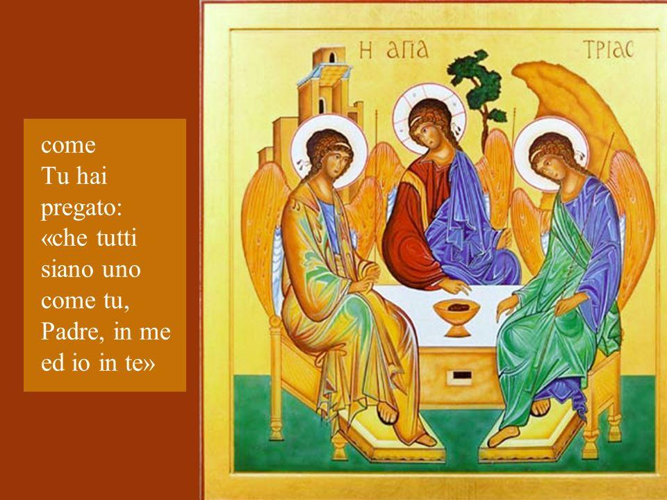 come Tu hai pregato: «che tutti siano uno come tu, Padre, in me ed io in te»