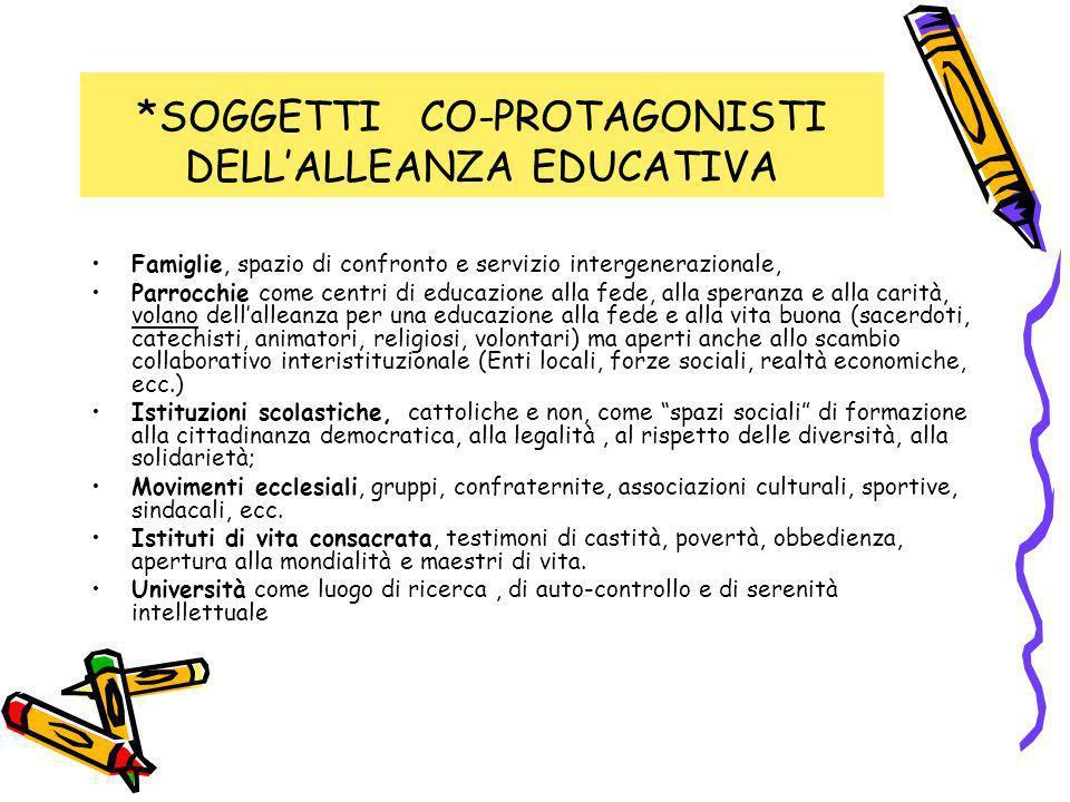 *SOGGETTI CO-PROTAGONISTI DELLALLEANZA EDUCATIVA Famiglie, spazio di confronto e servizio intergenerazionale, Parrocchie come centri di educazione all